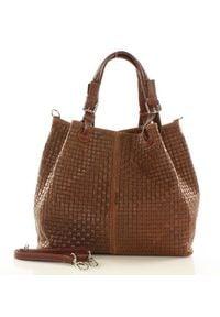 GENUINE LEATHER - Brązowa Włoska Torebka Typu Shopper - Carina Treccia. Kolor: brązowy