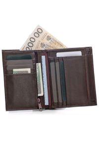 Brązowy portfel Solier z napisami