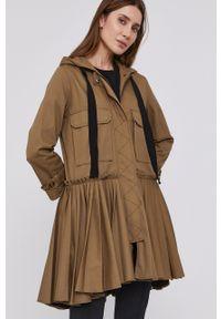 Red Valentino - Sukienka. Typ kołnierza: kaptur. Kolor: zielony. Długość rękawa: długi rękaw. Typ sukienki: plisowane, rozkloszowane