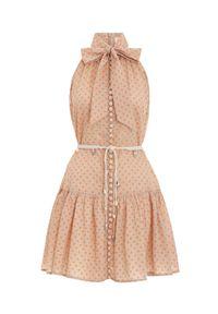 ZIMMERMANN - Sukienka mini w grochy. Okazja: na spacer, na plażę. Kolor: beżowy. Materiał: bawełna. Wzór: grochy. Sezon: lato. Typ sukienki: rozkloszowane. Długość: mini