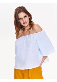 TROLL - Bluzka damska z odkrytymi ramionami. Kolor: niebieski. Materiał: tkanina. Wzór: prążki. Sezon: zima, jesień