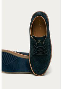 Niebieskie sneakersy GANT na sznurówki, z cholewką