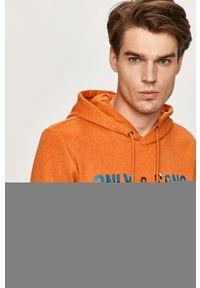 Pomarańczowa bluza nierozpinana Only & Sons z nadrukiem, z kapturem