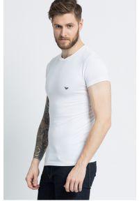 Biały t-shirt Emporio Armani na co dzień, casualowy, gładki