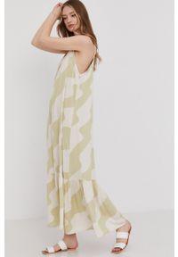Answear Lab - Sukienka. Okazja: na co dzień. Kolor: turkusowy. Materiał: tkanina. Długość rękawa: na ramiączkach. Typ sukienki: proste. Styl: wakacyjny
