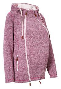 Bluza rozpinana z polaru, ciążowa z wstawką na nosidełko bonprix jeżynowo-matowy jasnoróżowy melanż. Kolekcja: moda ciążowa. Kolor: fioletowy. Materiał: polar. Wzór: melanż