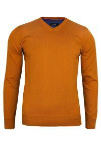Pomarańczowy sweter MM Classic elegancki, na spotkanie biznesowe, z klasycznym kołnierzykiem