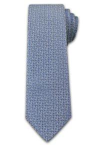 Stylowy Krawat Męski - MOTYW FLORYSTYCZNY - 6,7cm - Chattier, Niebieski. Kolor: niebieski. Materiał: tkanina. Wzór: kwiaty. Styl: elegancki