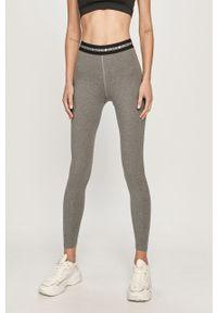 Szare legginsy Calvin Klein Performance z nadrukiem, z podwyższonym stanem