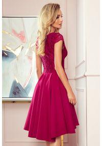 Sukienka wieczorowa Numoco na imprezę, asymetryczna, w koronkowe wzory