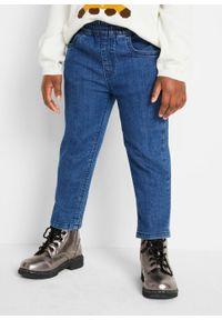 """Spodnie dziewczęce z gumką w talii (3 pary) bonprix czarny """"stone"""" + niebieski """"stone"""" + niebieski """"bleached"""". Okazja: na co dzień. Kolor: czarny. Styl: casual"""