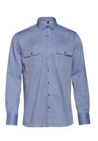 VEVA - Męska Koszula z Kieszeniami Rygle Błękit. Okazja: na co dzień. Typ kołnierza: button down. Kolor: niebieski. Materiał: jeans, bawełna. Długość rękawa: długi rękaw. Długość: długie. Styl: casual