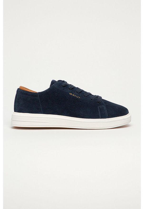 Niebieskie sneakersy GANT z okrągłym noskiem, z cholewką