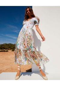 CHARO RUIZ IBIZA - Długa sukienka Liberty. Kolor: biały. Materiał: koronka, bawełna. Wzór: kwiaty, aplikacja, koronka. Długość: maxi