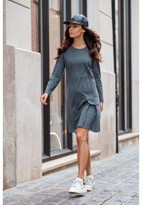 Lemoniade - Trapezowa Sukienka z Imitacją Kieszeni - Grafitowa. Kolor: szary. Materiał: elastan, bawełna. Typ sukienki: trapezowe