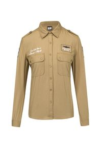 Beżowa koszula Aeronautica Militare z haftami, militarna