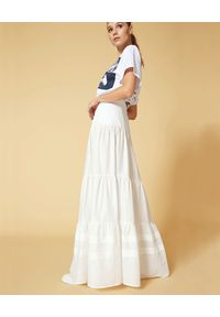 Manila Grace - MANILA GRACE - Biała spódnica maxi z bawełny. Kolor: biały. Materiał: bawełna. Wzór: aplikacja. Sezon: lato. Styl: elegancki
