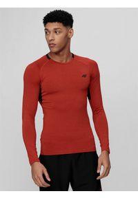 4f - Longsleeve treningowy męski. Kolor: czerwony. Materiał: dzianina, materiał. Długość rękawa: długi rękaw