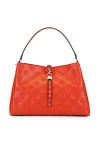 Pomarańczowa torebka worek Wittchen skórzana, na ramię, z haftami, elegancka