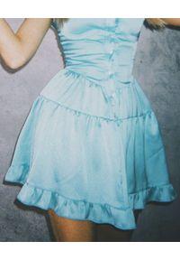 LOVE & ROSE - Niebieska sukienka mini Tequila. Typ kołnierza: dekolt gorset. Kolor: niebieski. Materiał: tkanina, koronka, satyna. Długość rękawa: na ramiączkach. Wzór: koronka. Typ sukienki: rozkloszowane, gorsetowe. Długość: mini