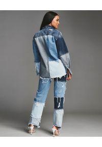 RETROFETE - Patchworkowa koszula jeansowa. Kolor: niebieski. Materiał: jeans. Długość rękawa: długi rękaw. Długość: długie #5