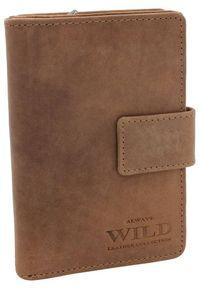 ALWAYS WILD - Portfel damski j. brązowy Always Wild N509-CH TAN. Kolor: brązowy. Materiał: skóra