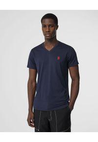 Burberry - BURBERRY - Granatowa koszulka z dekoltem. Okazja: na co dzień. Kolor: niebieski. Materiał: bawełna, jersey, jeans, wełna. Wzór: haft. Sezon: lato. Styl: casual