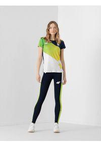 4f - Legginsy funkcyjne damskie Litwa - Tokio 2020. Stan: podwyższony. Kolor: niebieski. Materiał: włókno. Sezon: lato. Sport: fitness