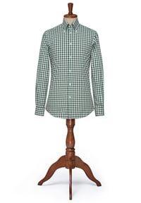 Lancerto - Koszula w Zieloną Kratę Latina. Typ kołnierza: button down. Kolor: zielony. Materiał: tkanina, bawełna. Wzór: kratka. Styl: klasyczny, vintage