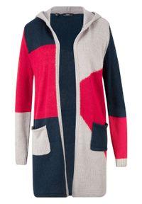 Czerwony sweter bonprix melanż, z kapturem