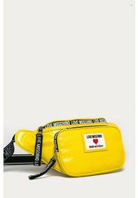 Żółta nerka Love Moschino z aplikacjami