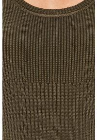 Zielony sweter Sportmax Code z okrągłym kołnierzem, z długim rękawem, z aplikacjami, długi