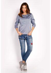 Lou-Lou - Szara Bluzka Koszulowa z Krótkim Zapięciem. Kolor: szary. Materiał: elastan, nylon, bawełna. Długość: krótkie