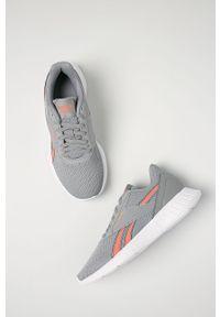 Szare buty sportowe Reebok na sznurówki, z okrągłym noskiem, na niskim obcasie