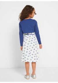 Sukienka dziewczęca + bolerko + pasek (3 części) bonprix niebiesko-biały. Kolor: niebieski. Wzór: nadruk