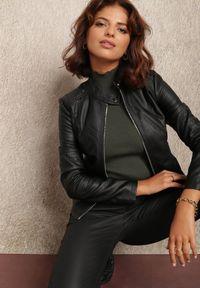 Renee - Czarna Ramoneska Damiopis. Typ kołnierza: kołnierzyk stójkowy. Kolor: czarny