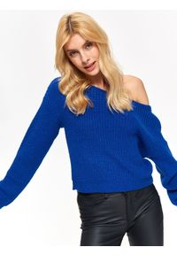 Niebieski sweter TROLL na zimę, na co dzień, z dekoltem w łódkę, w kolorowe wzory