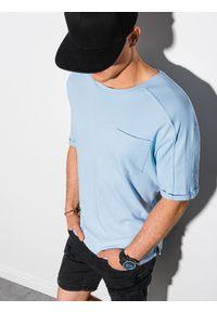 Ombre Clothing - T-shirt męski bawełniany S1386 - jasnoniebieski - XXL. Kolor: niebieski. Materiał: bawełna