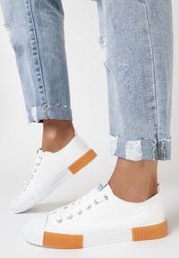 Born2be - Białe Trampki Castite. Wysokość cholewki: przed kostkę. Nosek buta: okrągły. Kolor: biały. Materiał: materiał, guma. Szerokość cholewki: normalna. Wzór: aplikacja