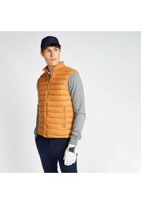 INESIS - Ciepła kamizelka do golfa MW500 męska. Typ kołnierza: golf. Kolor: pomarańczowy. Materiał: puch. Długość rękawa: bez rękawów. Sport: golf
