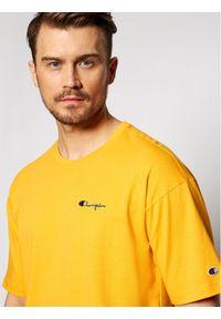 Champion T-Shirt Small Script Logo 214282 Żółty Custom Fit. Kolor: żółty