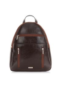 PAOLO PERUZZI - Plecak skórzany damski Paolo Peruzzi brązowy X-07. Kolor: brązowy. Materiał: skóra. Styl: vintage, casual, retro