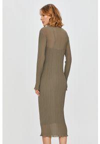Oliwkowa sukienka Patrizia Pepe prosta, casualowa, midi, na co dzień