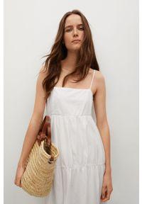 mango - Mango - Sukienka CECI. Kolor: biały. Materiał: materiał, tkanina, włókno. Długość rękawa: na ramiączkach. Typ sukienki: rozkloszowane