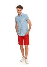 Niebieska koszula TOP SECRET w kratkę, z krótkim rękawem, krótka