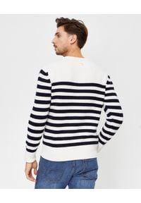 FAY - Wełniany sweter w pasy. Kolor: biały. Materiał: wełna. Długość rękawa: długi rękaw. Długość: długie. Styl: elegancki