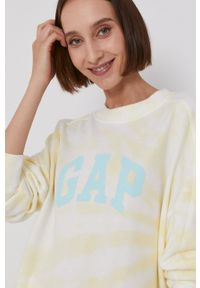 GAP - Bluza. Kolor: żółty. Wzór: nadruk
