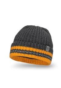 Czarna czapka męska z wywinięciem w paski PaMaMi- Ciemnoszary. Kolor: szary. Materiał: poliamid, akryl. Wzór: paski