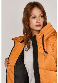 Pomarańczowy płaszcz medicine casualowy, z kapturem, na co dzień