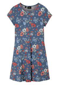 Niebieska sukienka bonprix w kwiaty, na lato, elegancka